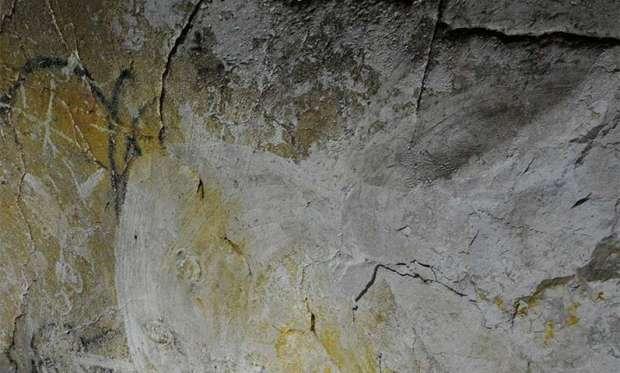 Megaloceros Galerisi girişindeki siyah gergedan, Chauvet-Pont d'Arc Mağarası. Fotoğraf: Jean-Michel Geneste, Ministère de la Culture et de la Communication.